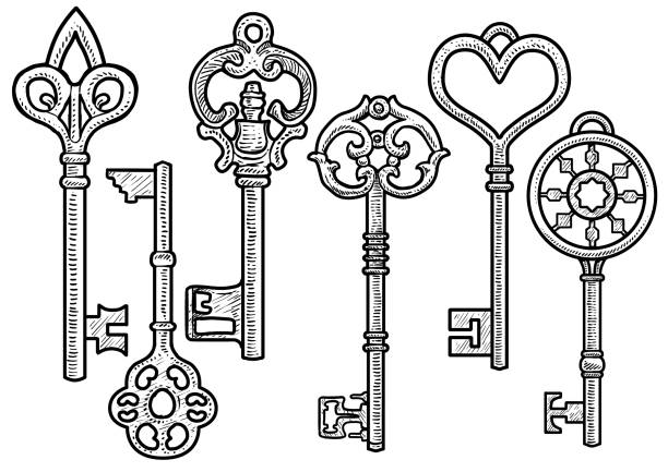 Line Drawing Key : Royalty free drawing of a heart skeleton key clip art