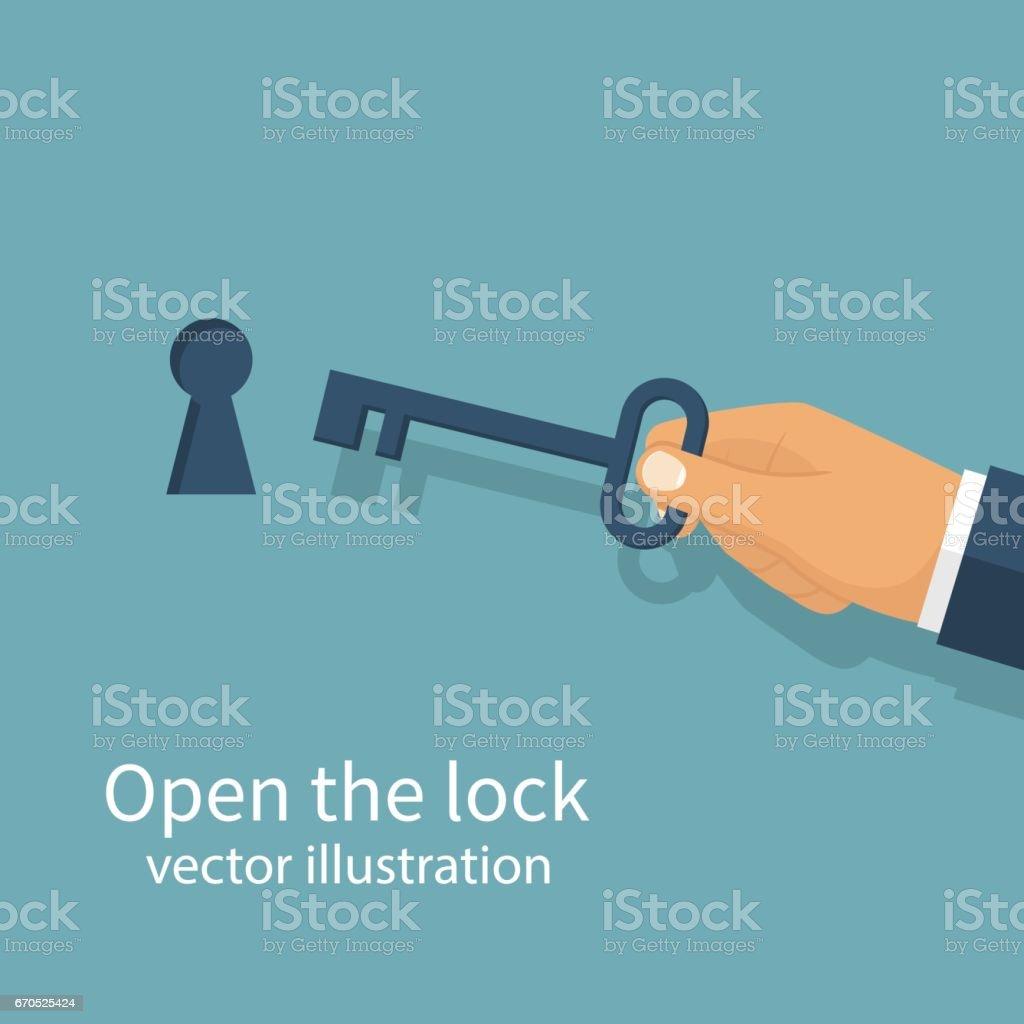 Key in hand holds man. vector art illustration