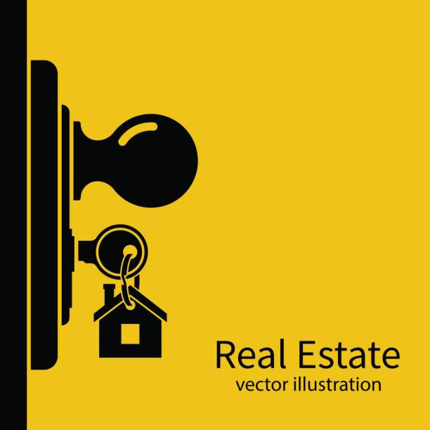 Key in keyhole on door silhouette. Key in keyhole on door silhouette. Real Estate pictogram concept, template for sales, rental, advertising. Sign on the home key. Vector illustration flat design. door stock illustrations