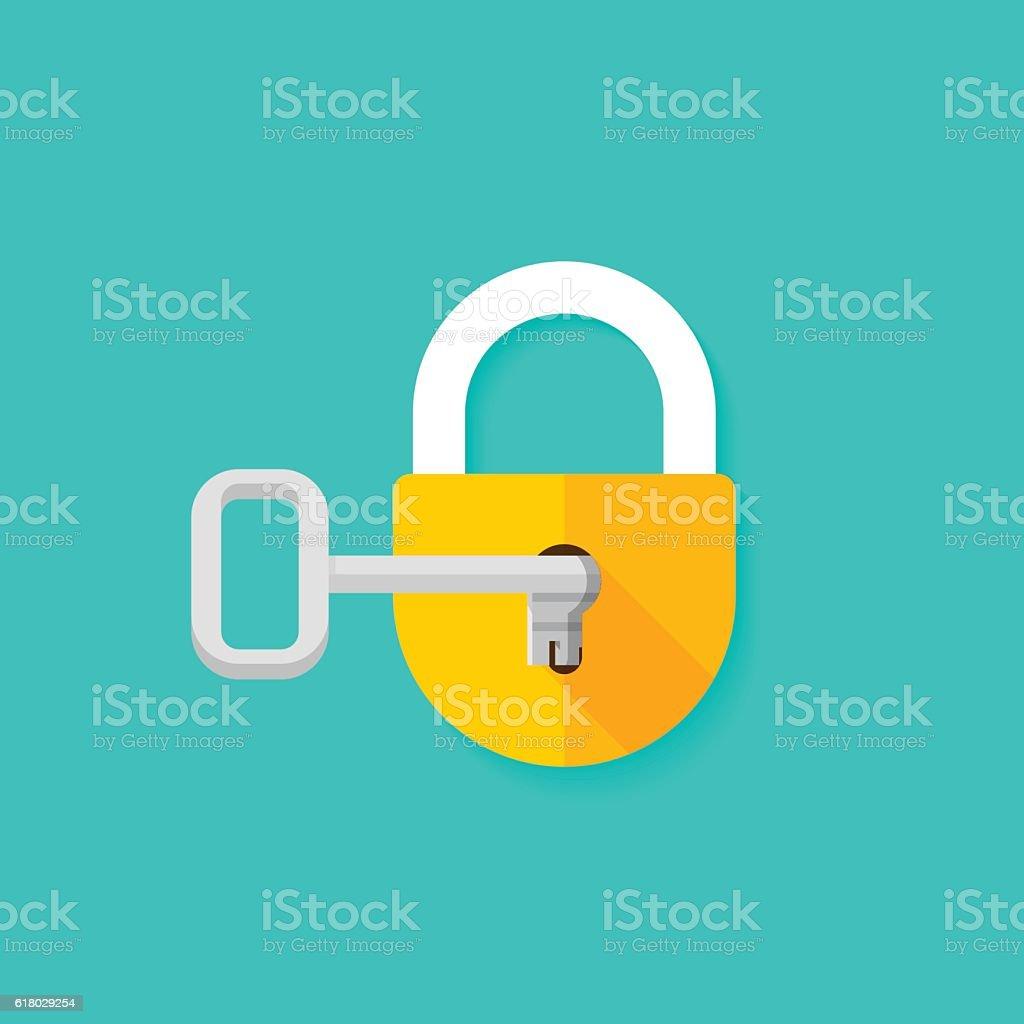Key in keyhole opening closed padlock vector illustration vector art illustration