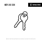 Key Line Icon - Editable Stroke