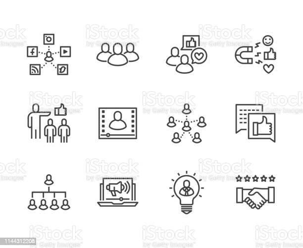 Key Opinion Leader Flat Line Icons Set Influence Marketing Social Media Advertising Business People Blogger Vector Illustrations Thin Signs For Kol Pixel Perfect 64x64 Editable Strokes - Stockowe grafiki wektorowe i więcej obrazów Biznes