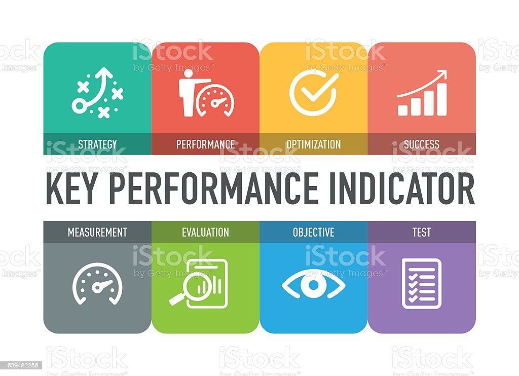 Key Performance Indicator Icon Set vector art illustration