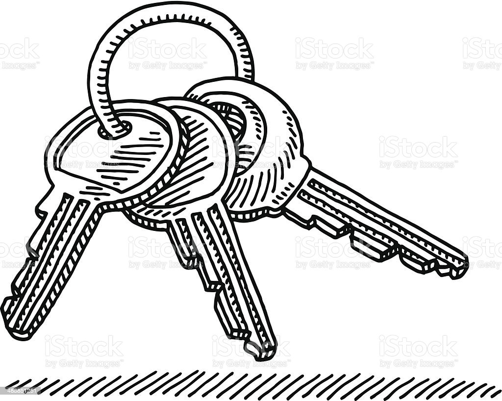 Line Art Key : Key ring drawing stock vector art more images of
