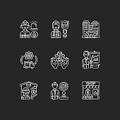 Key services chalk white icons set on black background. Firefighting. Public safety. Bank. Essential workers. Environmental services. Educators. Isolated vector chalkboard illustrations