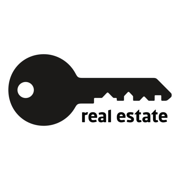 Key silhouette with city landscape Key silhouette with city landscape, shape of houses on counterform, black color vector illustration isolated on white background, symbol template can be used for a real estate agency house key stock illustrations