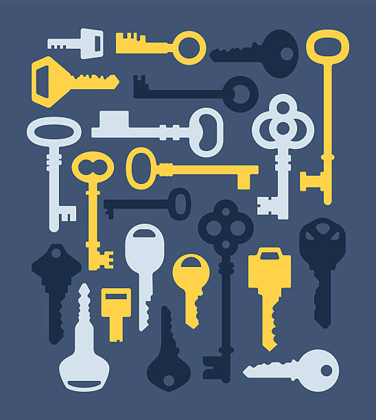 Key Silhouettes Key silhouette collection of various types and styles. house key stock illustrations
