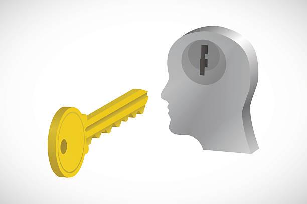 Key to Mind vector art illustration