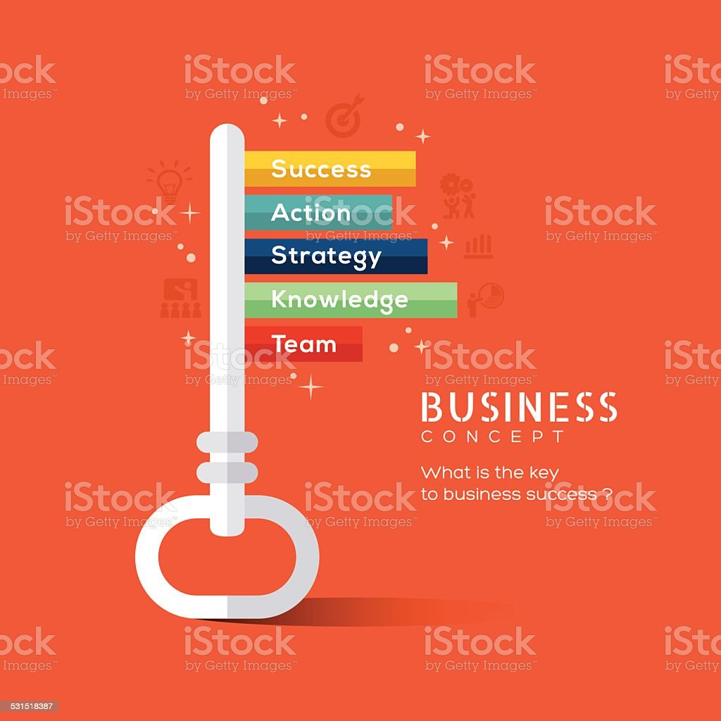Key to success flat design concept illustration vector art illustration