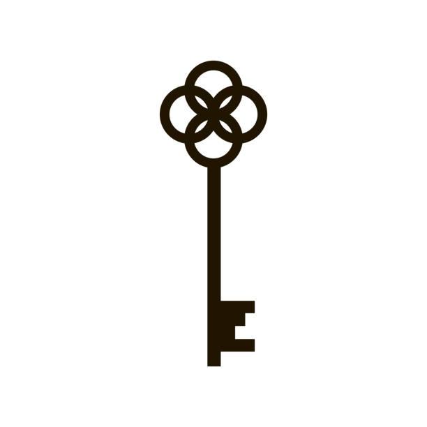 ilustrações, clipart, desenhos animados e ícones de ícone chave do vetor isolado no fundo branco - chave