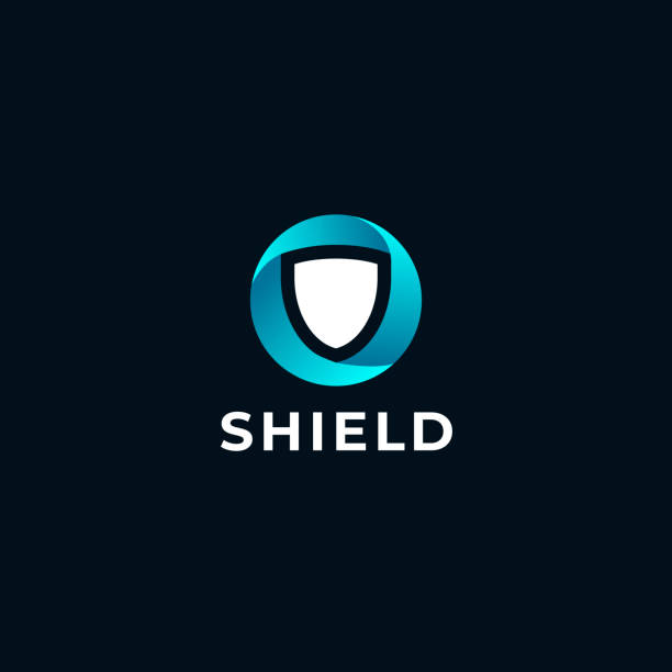 key Shield safety round  icon design template. Abstract symbol of security. defend stock illustrations