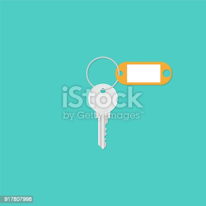istock Key with a blank key-tag. Illustration in flat style 917807998