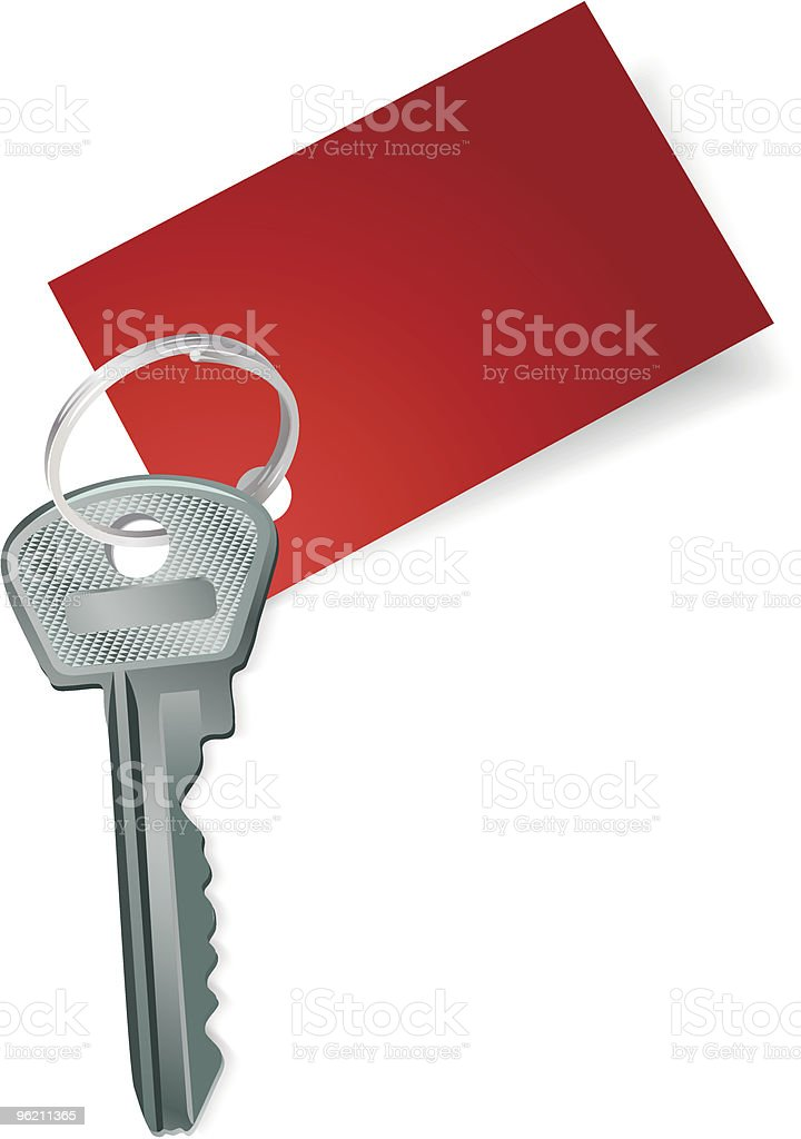 Key with a blank red label royalty-free stock vector art