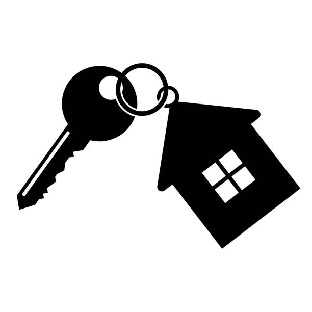 Key with a keychain Key with a keychain in the form of the house. Vector illustration house key stock illustrations