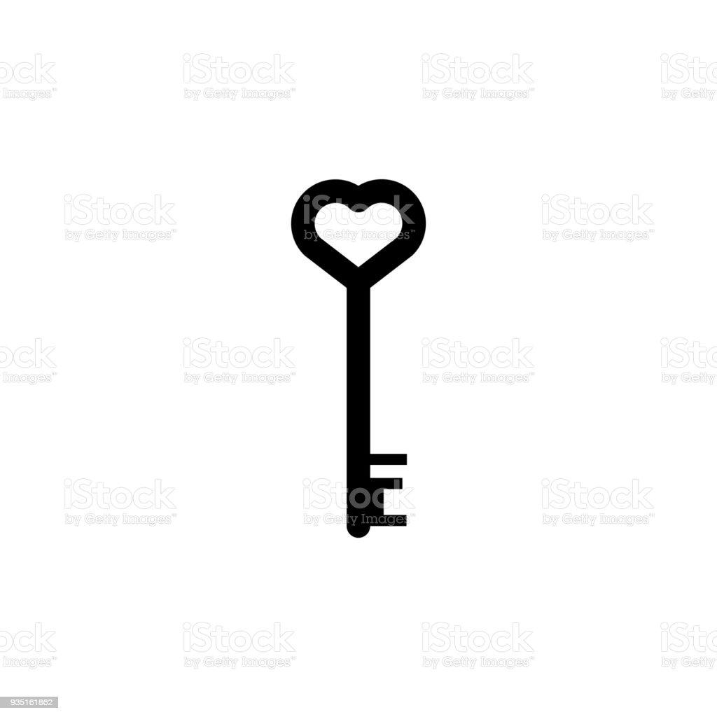 Schlüssel Mit Herz Symbol. Element Der Schloss Und  Schlüssel Elemente Illustration.
