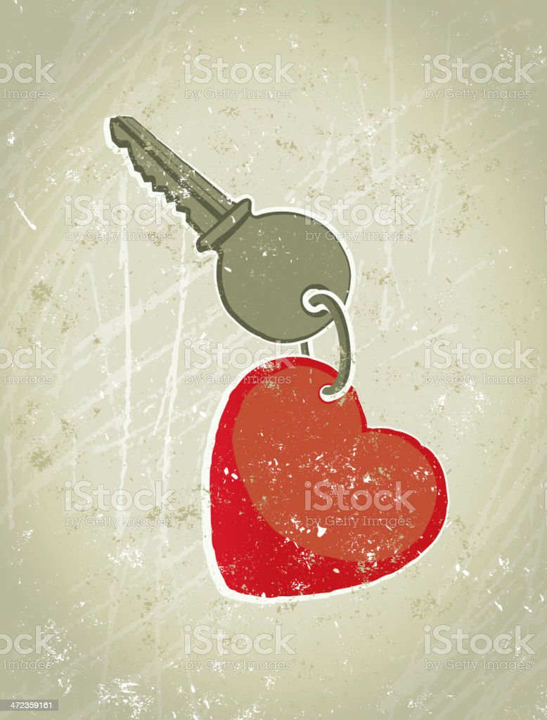 Key with Keyring in the Shape of  a Heart royalty-free stock vector art