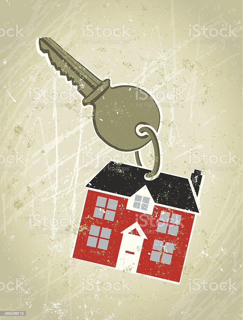Key with Keyring in the Shape of  a House royalty-free stock vector art