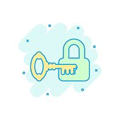 Key with padlock icon in comic style. Access login vector cartoon illustration pictogram. Lock keyhole business concept splash effect.