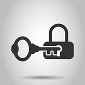 Key with padlock icon in flat style. Access login vector illustration on white background. Lock keyhole business concept.