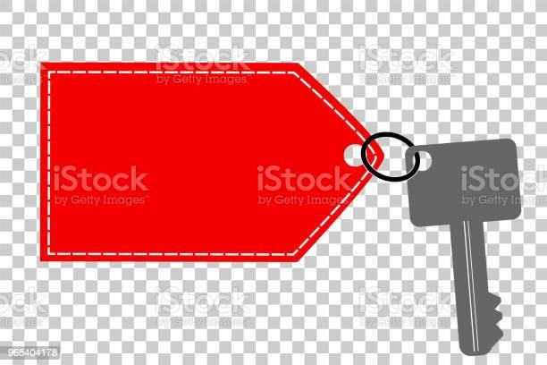 Vetores de Chave Com Etiqueta Vermelha No Fundo De Efeito Transparente e mais imagens de Aberto