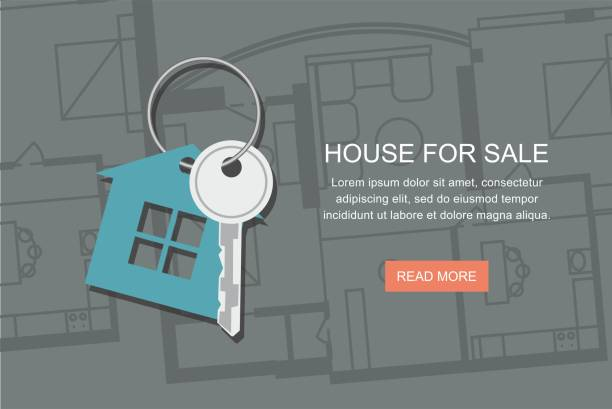 Key with symbol of house and Project architect house plan.  web banner Key with symbol of house and Project architect house plan. Vector web banner house key stock illustrations