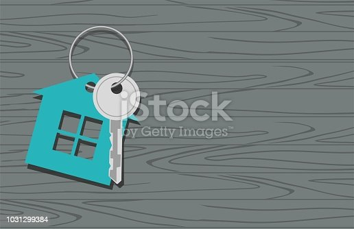 Key with symbol of house, key on wooden background. Vector Illustration