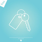 Key with tag line icon