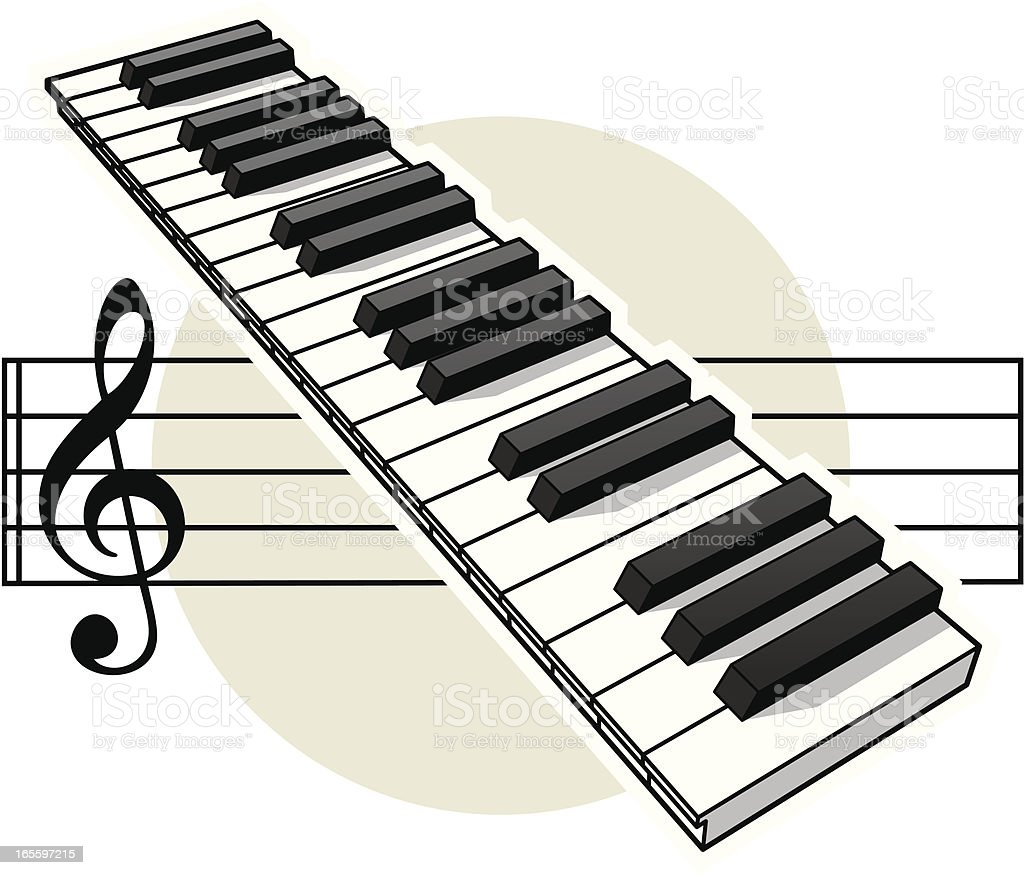 Keyboard and Stave royalty-free stock vector art