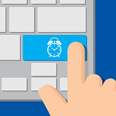 Vector illustration of a computer keyboard with an alarm clock icon on a blue button and a hand about to press it, in flat style.