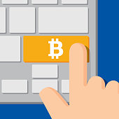 Vector illustration of a computer keyboard with a bitcoin icon on a gold button and a hand about to press it, in flat style.