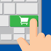 Vector illustration of a computer keyboard with a keyboard icon on a green button and a hand about to press it, in flat style.
