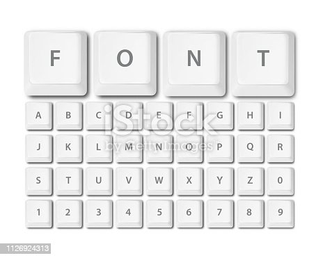 keyboard buttons font alphabet in vector format