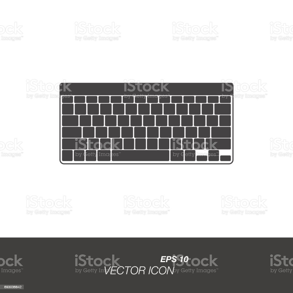 Keyboard icon in flat style isolated on white background. vector art illustration