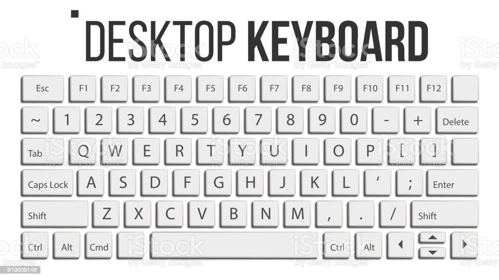 Keyboard Isolated Vector. Layout Template. Classic Keyboard. White Buttons. Computer Desktop. Electronic Device. Isolated On White Realistic Illustration