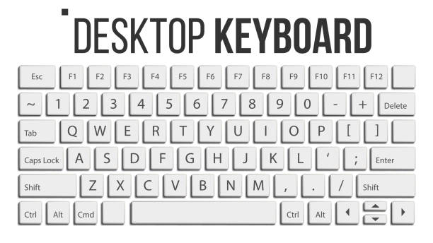 Keyboard Isolated Vector. Layout Template. Classic Keyboard. White Buttons. Computer Desktop. Electronic Device. Isolated On White Realistic Illustration vector art illustration