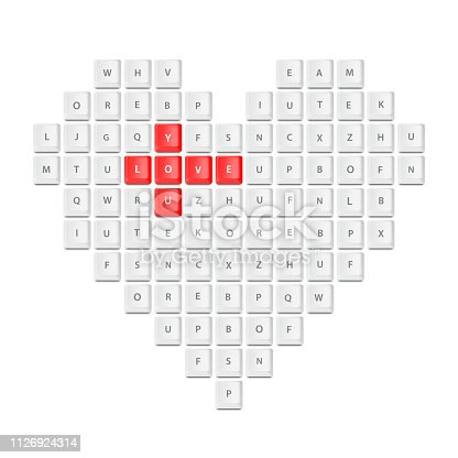 keyboard buttons love concept in vector format