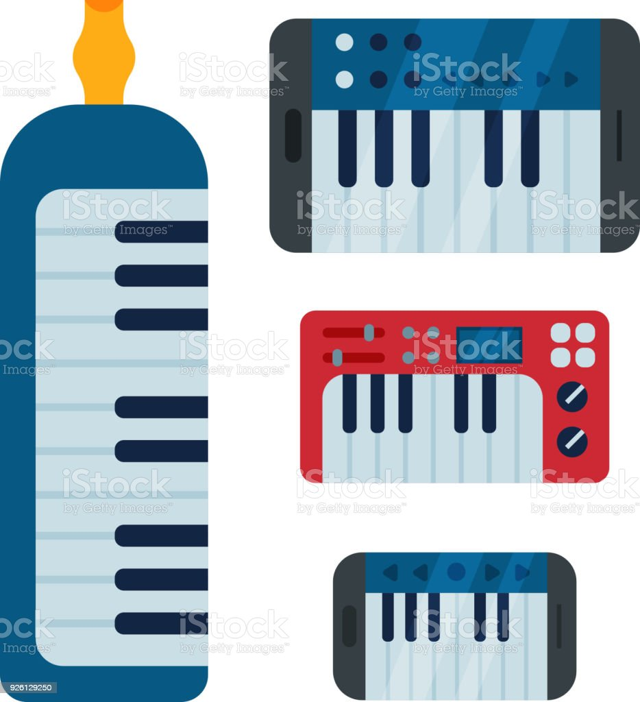 Keyboard Musical Vector Instruments Isolated Classical
