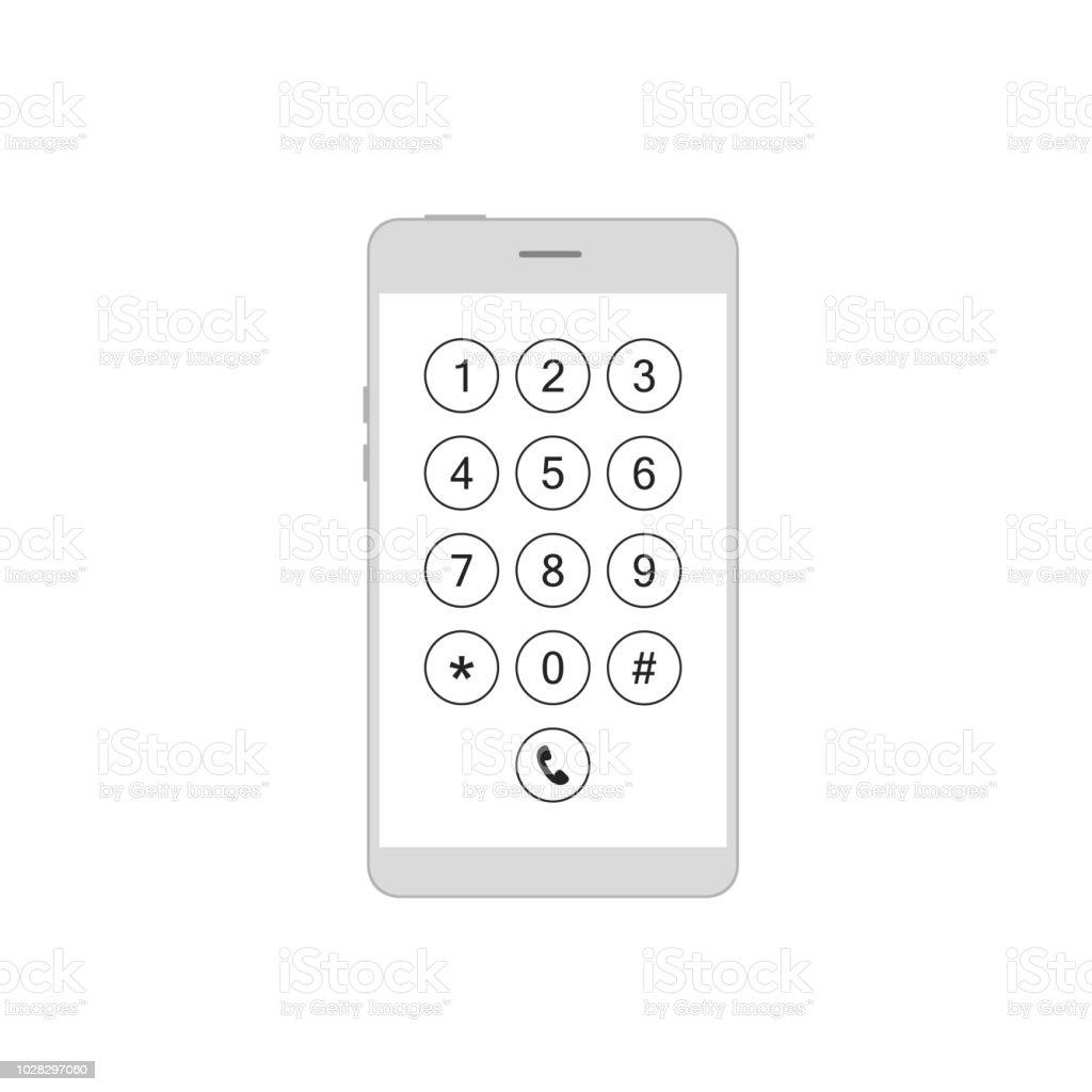 Keyboard phone in smartphone vector art illustration