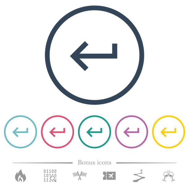 Tastatur rückführung flacher Farb-Symbole in Rundumrissen – Vektorgrafik