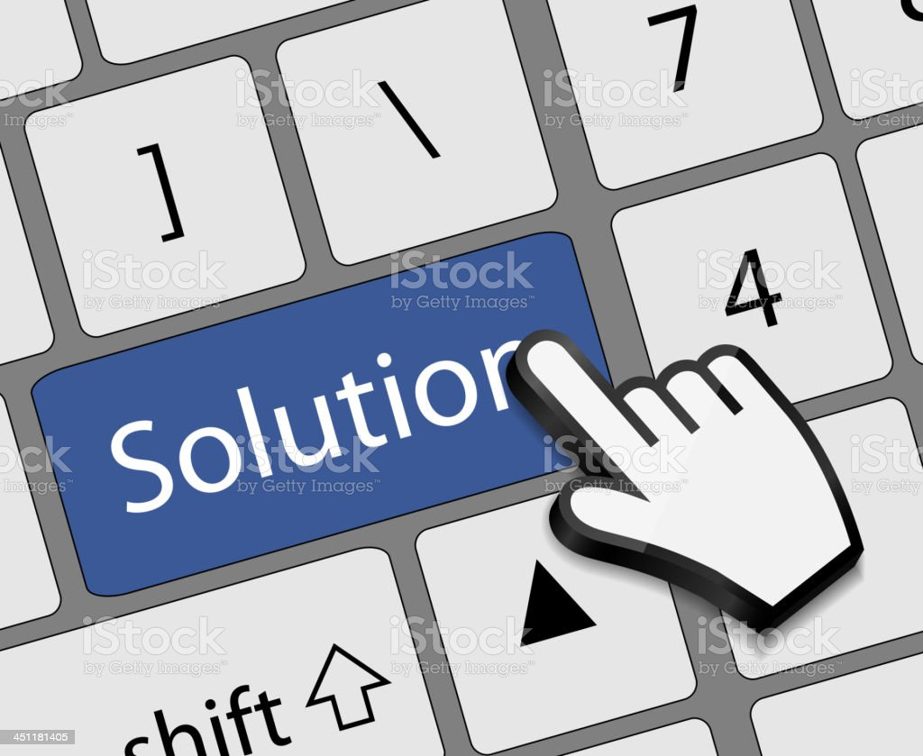 Keyboard solution button with mouse hand cursor vector illustrat royalty-free keyboard solution button with mouse hand cursor vector illustrat stock vector art & more images of assistance