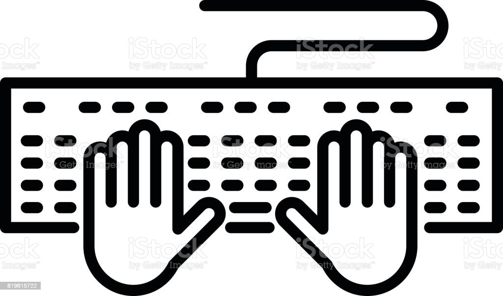 Keyboard With Hands Icon Stock Vector Art More Images Of Business