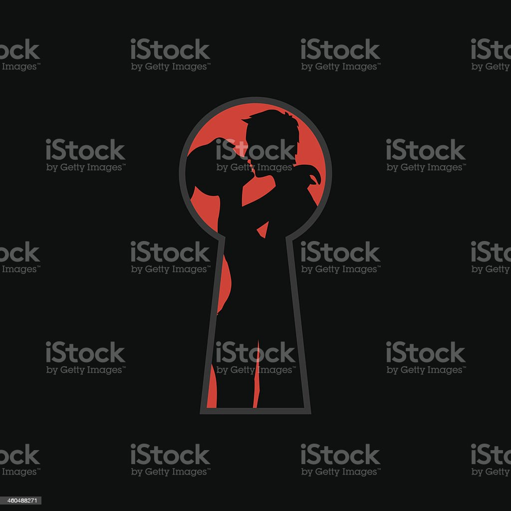 keyhole and lovers vector art illustration