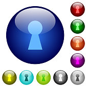 Keyhole icons on round color glass buttons