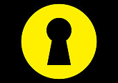 Keyhole for the key of the front door on a yellow background. Template for text. Place for text. Abstraction. Safe. Background vector image. Safety. Security. Poster.