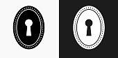 Keyhole Icon on Black and White Vector Backgrounds. This vector illustration includes two variations of the icon one in black on a light background on the left and another version in white on a dark background positioned on the right. The vector icon is simple yet elegant and can be used in a variety of ways including website or mobile application icon. This royalty free image is 100% vector based and all design elements can be scaled to any size.