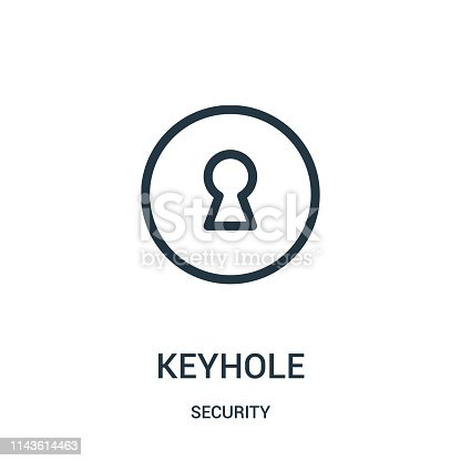 keyhole icon vector from security collection. Thin line keyhole outline icon vector illustration. Linear symbol for use on web and mobile apps, logo, print media.