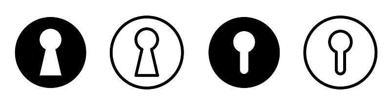 Keyhole icons set design.Lock icon colection, padlock silhouette. door, lock, key flat simple symbol