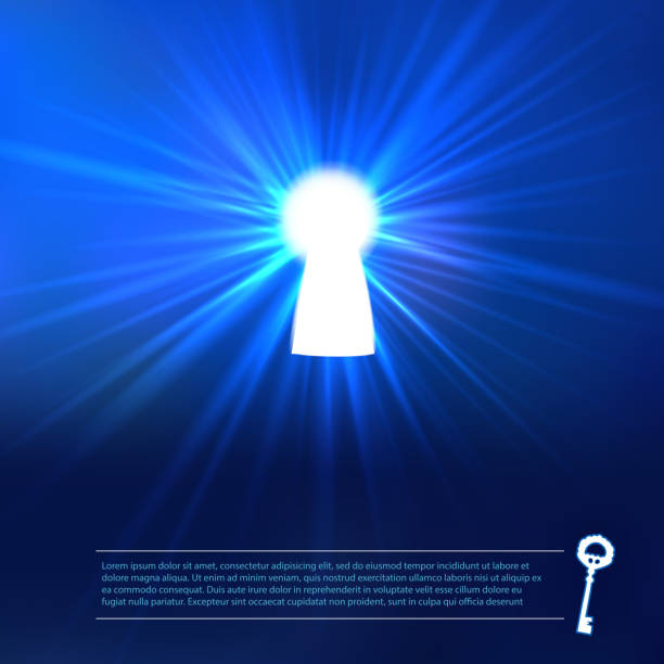Keyhole light at blue background Keyhole lighting with key and place for text. Vector background. keyhole stock illustrations