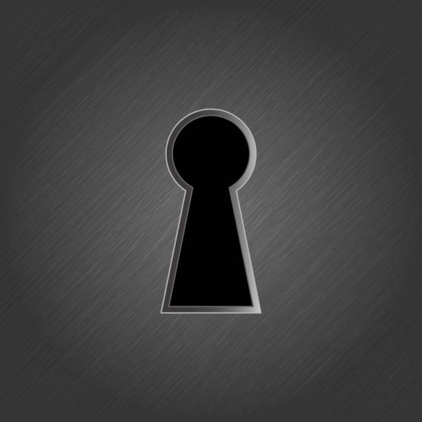 Keyhole on metal background Keyhole on metal background - vector illustration keyhole stock illustrations
