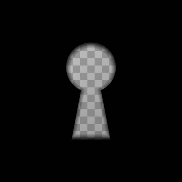Keyhole shape on transparent background Black keyhole shape on transparent background keyhole stock illustrations